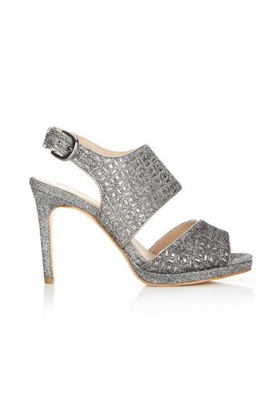 Silver Jacquard Heeled Sandal - predominant colour: silver; occasions: evening, occasion; material: fabric; embellishment: glitter; heel: stiletto; toe: open toe/peeptoe; style: strappy; finish: plain; pattern: plain; heel height: very high; shoe detail: platform; season: a/w 2016