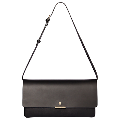 Anna Leather Clutch Bag - predominant colour: black; occasions: evening, occasion; type of pattern: standard; style: clutch; length: hand carry; size: standard; material: leather; pattern: plain; finish: plain; season: a/w 2016