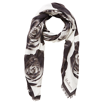 Floating Rose Wrap - secondary colour: ivory/cream; predominant colour: black; occasions: evening, creative work; type of pattern: standard; style: regular; size: standard; material: fabric; pattern: florals; season: a/w 2016; wardrobe: highlight