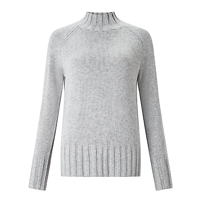 Rib Hem Funnel Neck Jumper - sleeve style: raglan; pattern: plain; neckline: high neck; style: standard; predominant colour: mid grey; occasions: casual, creative work; length: standard; fit: standard fit; sleeve length: long sleeve; texture group: knits/crochet; pattern type: knitted - other; pattern size: standard; fibres: viscose/rayon - mix; season: a/w 2016; trends: chunky knits