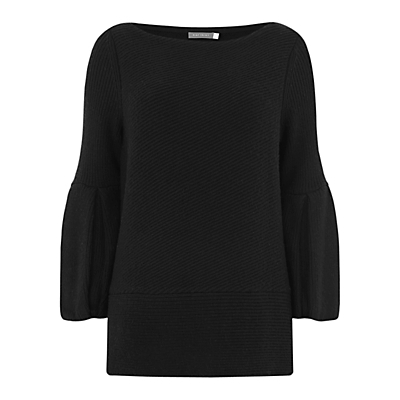Bell Sleeve Ribbed Knit, Black - sleeve style: bell sleeve; pattern: plain; style: standard; predominant colour: black; occasions: casual; length: standard; fibres: nylon - mix; fit: standard fit; neckline: crew; sleeve length: long sleeve; texture group: knits/crochet; pattern type: knitted - fine stitch; wardrobe: basic; season: a/w 2016; trends: chunky knits