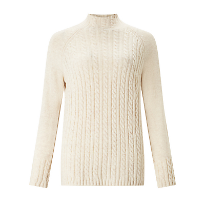 Cable Funnel Neck Jumper - sleeve style: raglan; neckline: high neck; length: below the bottom; style: standard; pattern: cable knit; predominant colour: ivory/cream; occasions: casual, creative work; fibres: nylon - mix; fit: standard fit; sleeve length: long sleeve; texture group: knits/crochet; pattern type: knitted - other; pattern size: standard; season: a/w 2016; wardrobe: highlight; trends: chunky knits