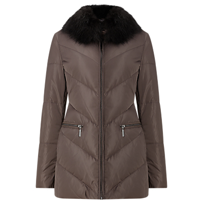 Calandra Chevron Puffer Jacket, Mink - pattern: plain; length: below the bottom; fit: loose; predominant colour: aubergine; occasions: casual; fibres: polyester/polyamide - 100%; sleeve length: long sleeve; sleeve style: standard; texture group: technical outdoor fabrics; collar: fur; collar break: high; pattern type: fabric; style: puffa; season: a/w 2016; wardrobe: highlight