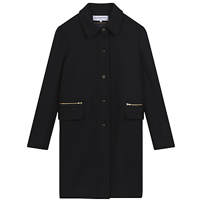 Tomboy Coat, Navy Blue - pattern: plain; style: single breasted; fit: slim fit; length: mid thigh; predominant colour: navy; occasions: casual; fibres: wool - mix; collar: shirt collar/peter pan/zip with opening; sleeve length: long sleeve; sleeve style: standard; collar break: high; pattern type: fabric; texture group: woven bulky/heavy; season: a/w 2016; wardrobe: highlight; embellishment location: bust
