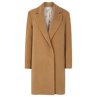Juana Coat, Tan - pattern: plain; style: single breasted; length: on the knee; collar: standard lapel/rever collar; predominant colour: camel; occasions: casual; fit: straight cut (boxy); fibres: polyester/polyamide - 100%; sleeve length: long sleeve; sleeve style: standard; collar break: medium; pattern type: fabric; texture group: woven bulky/heavy; season: a/w 2016