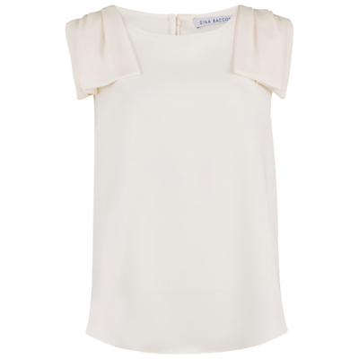 Moss Crepe Top With Shoulder Detail - neckline: round neck; pattern: plain; sleeve style: sleeveless; predominant colour: ivory/cream; occasions: evening, creative work; length: standard; style: top; fibres: polyester/polyamide - 100%; fit: straight cut; shoulder detail: bulky shoulder detail; back detail: keyhole/peephole detail at back; sleeve length: sleeveless; pattern type: fabric; texture group: other - light to midweight; season: a/w 2016; wardrobe: highlight