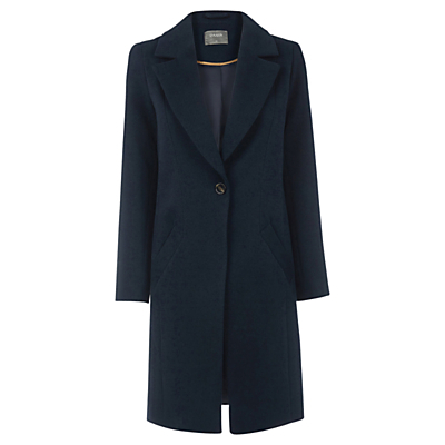 Kimberly Car Coat, Navy - pattern: plain; style: single breasted; collar: standard lapel/rever collar; length: calf length; predominant colour: navy; occasions: work, creative work; fit: tailored/fitted; fibres: polyester/polyamide - stretch; sleeve length: long sleeve; sleeve style: standard; collar break: medium; pattern type: fabric; texture group: woven bulky/heavy; wardrobe: investment; season: a/w 2016