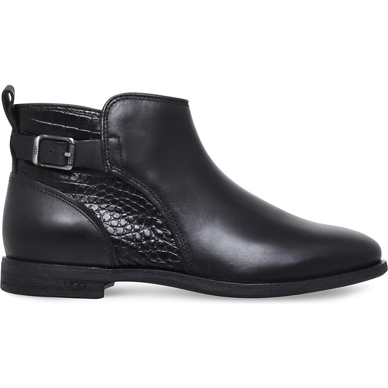 Demi Croc Embossed Leather Boots, Women's, Eur 37 / 4 Uk Women, Black - predominant colour: black; occasions: casual; material: leather; heel height: flat; embellishment: buckles; heel: standard; toe: round toe; boot length: ankle boot; style: standard; finish: plain; pattern: plain; wardrobe: basic; season: a/w 2016