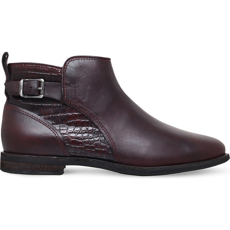 Demi Croc Embossed Leather Boots, Women's, Eur 39 / 6 Uk Women, Red - predominant colour: burgundy; occasions: casual; material: leather; heel height: flat; embellishment: buckles; heel: standard; toe: round toe; boot length: ankle boot; style: standard; finish: plain; pattern: plain; season: a/w 2016; wardrobe: highlight