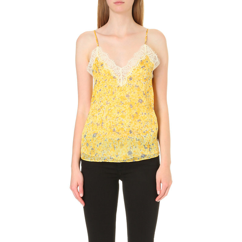 Lace Detail Silk Chiffon Top, Women's, Size: Medium, Yellow - neckline: low v-neck; sleeve style: spaghetti straps; style: camisole; secondary colour: ivory/cream; predominant colour: yellow; occasions: casual; length: standard; fibres: silk - 100%; fit: body skimming; sleeve length: sleeveless; texture group: sheer fabrics/chiffon/organza etc.; pattern type: fabric; pattern: florals; multicoloured: multicoloured; season: a/w 2016