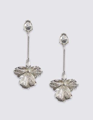 Flower Drop Earrings - predominant colour: silver; occasions: evening; style: drop; length: long; size: standard; material: chain/metal; fastening: pierced; finish: metallic; embellishment: crystals/glass; season: a/w 2016; wardrobe: event