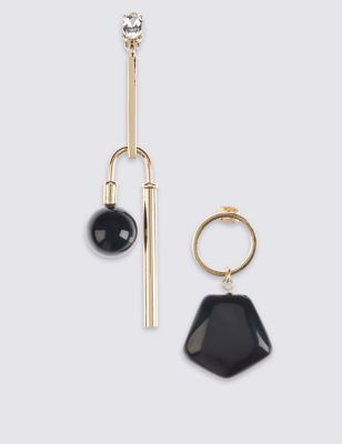 Mix Shapes Drop Earrings - predominant colour: gold; secondary colour: black; occasions: evening; style: drop; length: long; size: standard; material: chain/metal; fastening: pierced; finish: metallic; multicoloured: multicoloured; season: a/w 2016; wardrobe: event; trends: metropolis