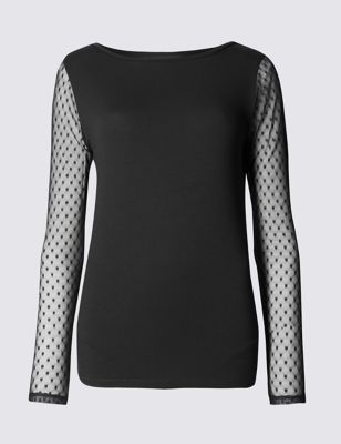 Slash Neck Long Sleeve Jersey Top - neckline: slash/boat neckline; pattern: plain; length: below the bottom; predominant colour: black; occasions: casual, evening, creative work; style: top; fibres: viscose/rayon - stretch; fit: body skimming; sleeve length: long sleeve; sleeve style: standard; pattern type: fabric; texture group: jersey - stretchy/drapey; embellishment: lace; season: a/w 2016; wardrobe: highlight