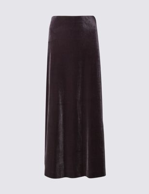 Velvet Column A Line Skirt - pattern: plain; length: ankle length; fit: loose/voluminous; waist: high rise; predominant colour: aubergine; occasions: evening, occasion; style: maxi skirt; fibres: polyester/polyamide - stretch; hip detail: soft pleats at hip/draping at hip/flared at hip; pattern type: fabric; texture group: velvet/fabrics with pile; season: a/w 2016