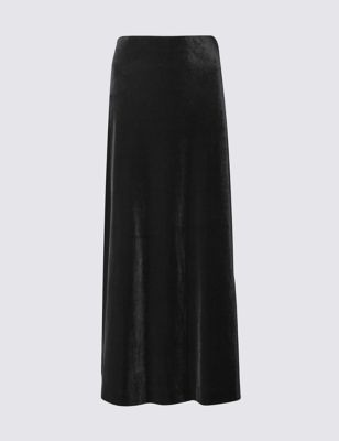 Velvet Column A Line Skirt - pattern: plain; length: ankle length; fit: loose/voluminous; waist: high rise; predominant colour: black; occasions: evening; style: maxi skirt; fibres: polyester/polyamide - stretch; hip detail: subtle/flattering hip detail; pattern type: fabric; texture group: velvet/fabrics with pile; season: a/w 2016; wardrobe: event; trends: eccentrics