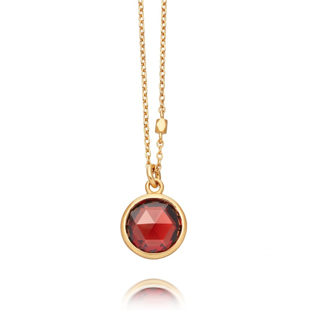 Garnet Stilla Pendant - predominant colour: true red; occasions: evening, occasion; style: pendant; length: mid; size: standard; material: chain/metal; finish: metallic; embellishment: jewels/stone; season: a/w 2016; wardrobe: event