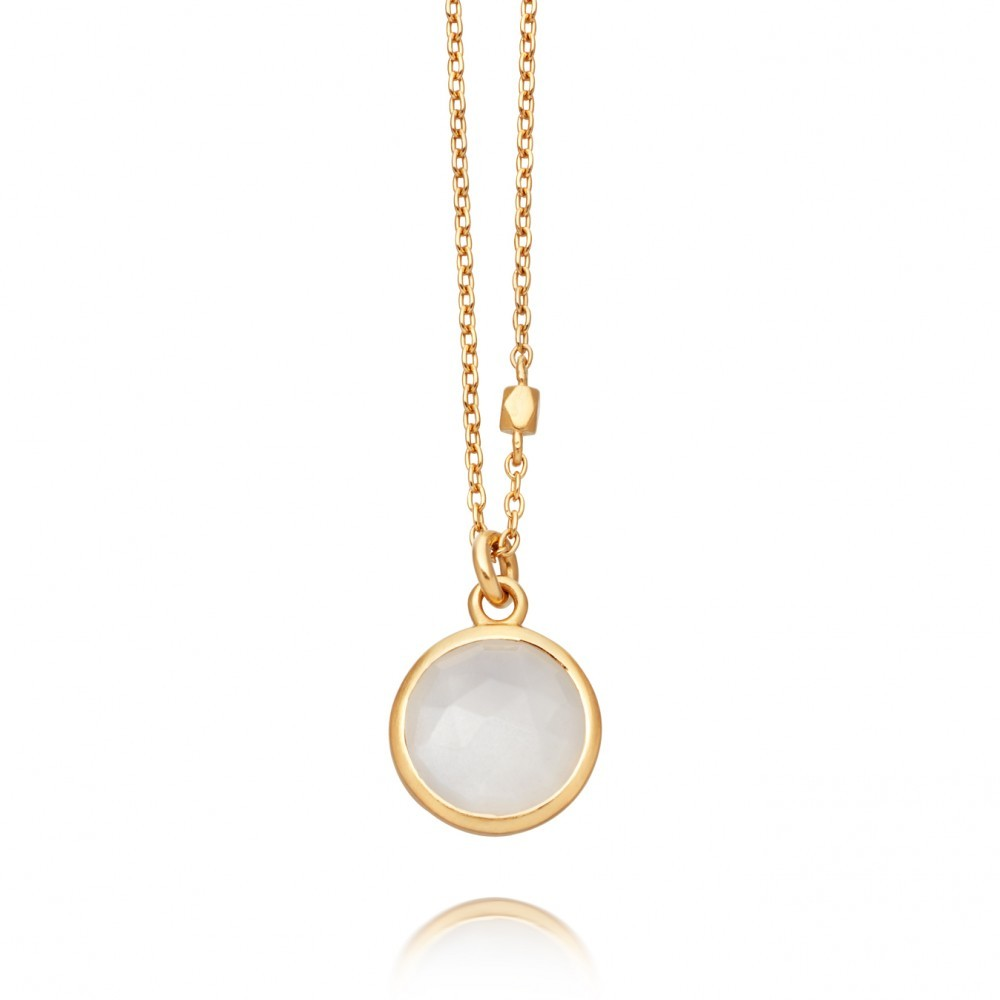 Moonstone Stilla Pendant - predominant colour: white; occasions: evening, occasion; style: pendant; length: mid; size: standard; material: chain/metal; finish: metallic; embellishment: jewels/stone; season: a/w 2016; wardrobe: event
