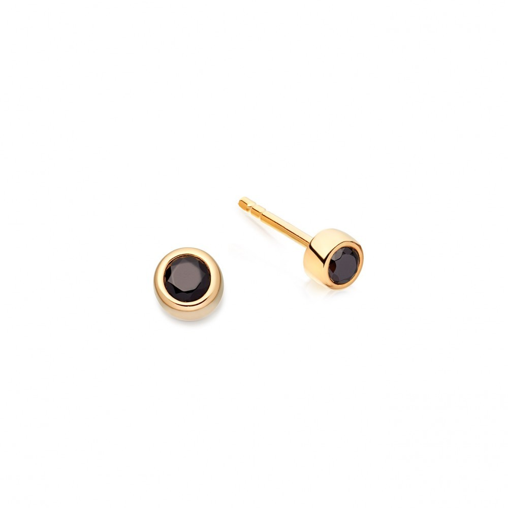 Black Spinel Mini Stilla Stud - predominant colour: black; occasions: evening, work, occasion; style: stud; length: short; size: small/fine; material: chain/metal; fastening: pierced; finish: metallic; embellishment: jewels/stone; season: a/w 2016; wardrobe: highlight