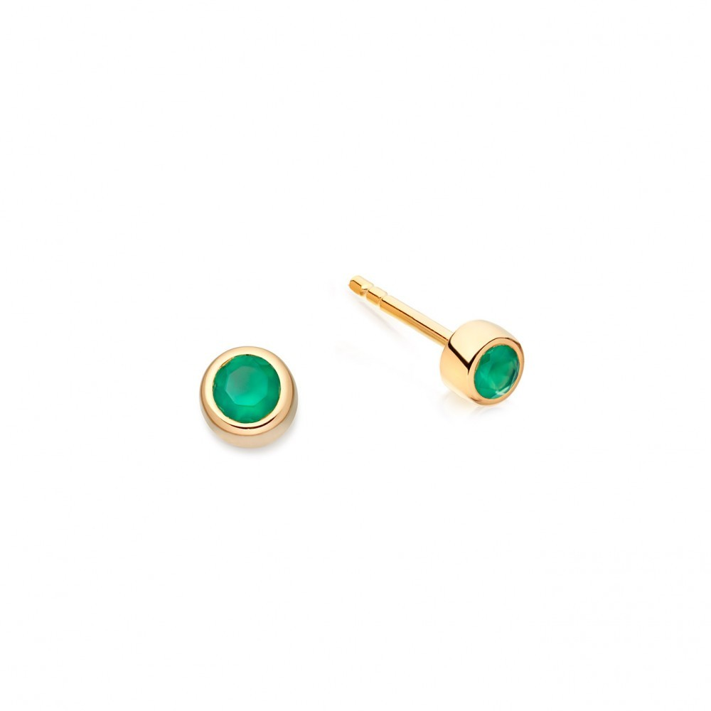 Mini Agate Stilla Stud - predominant colour: mint green; occasions: evening; style: stud; length: short; size: small/fine; material: chain/metal; fastening: pierced; finish: metallic; season: a/w 2016; wardrobe: event