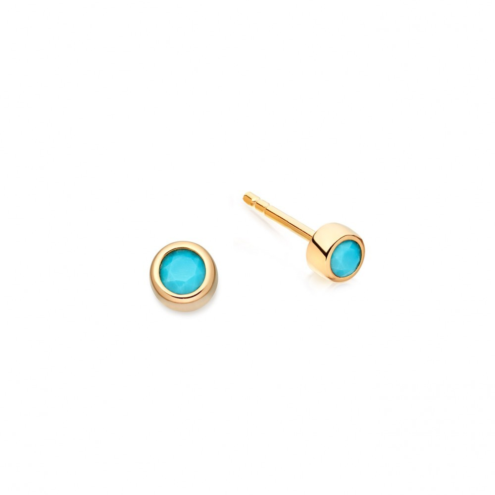 Turquoise Mini Stilla Stud - predominant colour: turquoise; occasions: evening, work, occasion; style: stud; length: short; size: small/fine; material: chain/metal; fastening: pierced; finish: metallic; embellishment: jewels/stone; season: a/w 2016; wardrobe: highlight