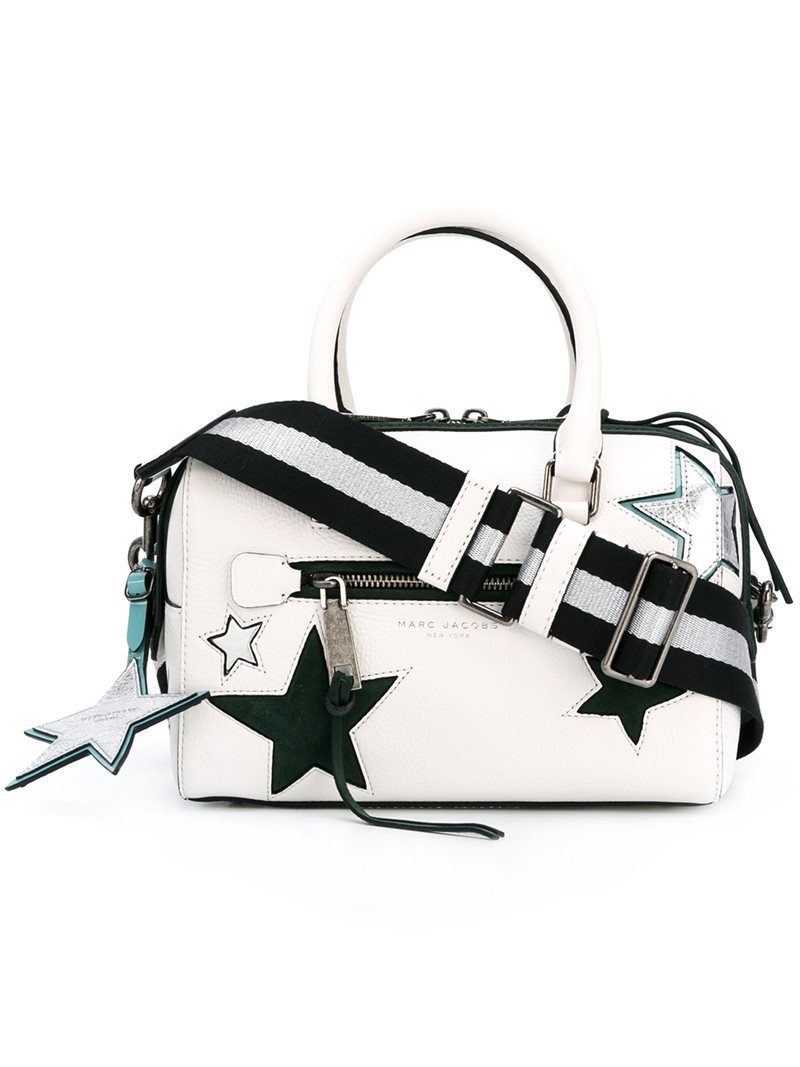 Small 'star Patchwork' Bauletto Tote, Women's, White - predominant colour: white; secondary colour: black; occasions: casual; type of pattern: standard; style: tote; length: handle; size: standard; material: leather; finish: plain; pattern: patterned/print; multicoloured: multicoloured; season: a/w 2016; wardrobe: highlight