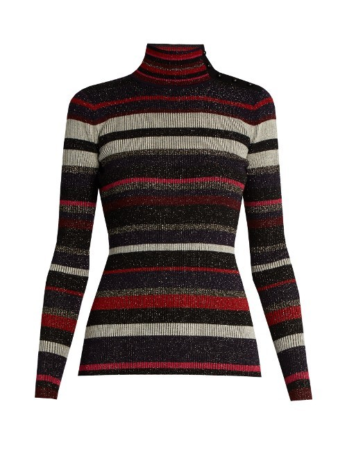 Leela Sweater - pattern: horizontal stripes; neckline: roll neck; style: standard; secondary colour: true red; predominant colour: black; occasions: casual; length: standard; fibres: wool - mix; fit: slim fit; sleeve length: long sleeve; sleeve style: standard; texture group: knits/crochet; pattern type: fabric; multicoloured: multicoloured; season: a/w 2016; wardrobe: highlight