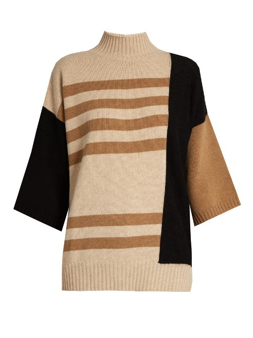 Rubens Sweater - pattern: horizontal stripes; neckline: roll neck; style: standard; predominant colour: ivory/cream; secondary colour: camel; occasions: casual; length: standard; fibres: wool - mix; fit: standard fit; sleeve length: 3/4 length; sleeve style: standard; texture group: knits/crochet; pattern type: knitted - fine stitch; multicoloured: multicoloured; season: a/w 2016; wardrobe: highlight
