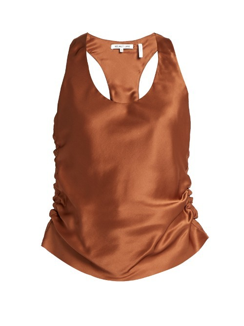 Ruched Silk Satin Cami Top - neckline: round neck; pattern: plain; sleeve style: sleeveless; style: camisole; predominant colour: bronze; occasions: evening; length: standard; fibres: silk - 100%; fit: body skimming; sleeve length: sleeveless; texture group: structured shiny - satin/tafetta/silk etc.; pattern type: fabric; season: a/w 2016