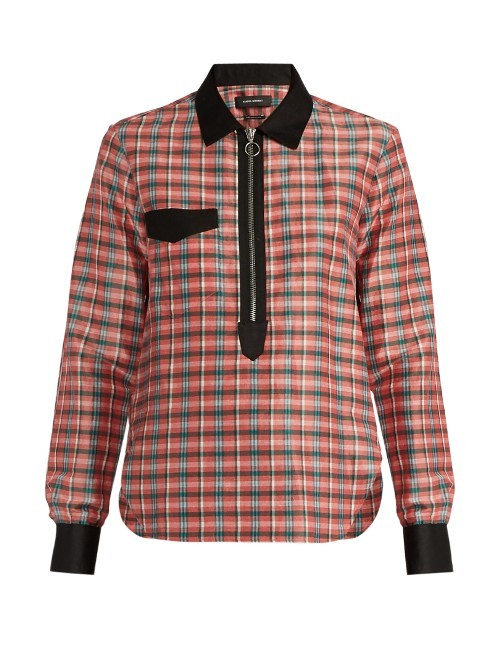 Molan Contrast Collar Checked Shirt - neckline: shirt collar/peter pan/zip with opening; pattern: checked/gingham; style: shirt; bust detail: buttons at bust (in middle at breastbone)/zip detail at bust; predominant colour: pink; secondary colour: black; occasions: casual; length: standard; fibres: cotton - 100%; fit: body skimming; sleeve length: long sleeve; sleeve style: standard; texture group: cotton feel fabrics; pattern type: fabric; multicoloured: multicoloured; season: a/w 2016; wardrobe: highlight