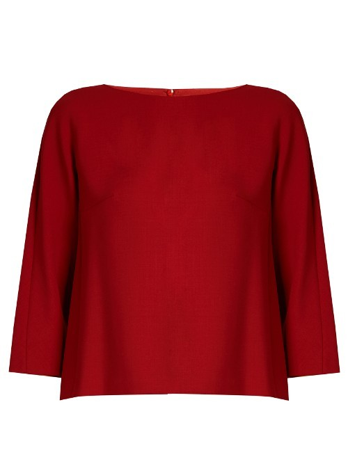 Ken Top - pattern: plain; predominant colour: burgundy; occasions: casual; length: standard; style: top; fibres: wool - mix; fit: straight cut; neckline: crew; sleeve length: 3/4 length; sleeve style: standard; texture group: knits/crochet; pattern type: fabric; season: a/w 2016; wardrobe: highlight