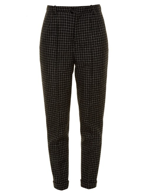 Iola Checked Wool Trousers - length: standard; pattern: plain; style: peg leg; waist: high rise; predominant colour: black; occasions: work; fibres: wool - 100%; fit: tapered; pattern type: fabric; texture group: woven light midweight; season: a/w 2016