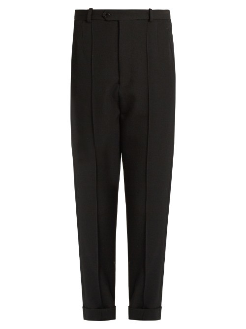 Jo Tapered Leg Cropped Wool Trousers - length: standard; pattern: plain; waist: mid/regular rise; predominant colour: black; occasions: work, creative work; fibres: wool - 100%; fit: tapered; pattern type: fabric; texture group: woven light midweight; style: standard; season: a/w 2016