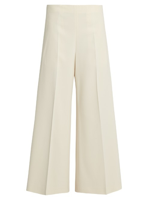 Brad Low Slung Wide Leg Trousers - length: standard; pattern: plain; style: palazzo; waist: low rise; predominant colour: ivory/cream; fibres: viscose/rayon - stretch; occasions: occasion, creative work; fit: wide leg; pattern type: fabric; texture group: woven light midweight; wardrobe: basic; season: a/w 2016