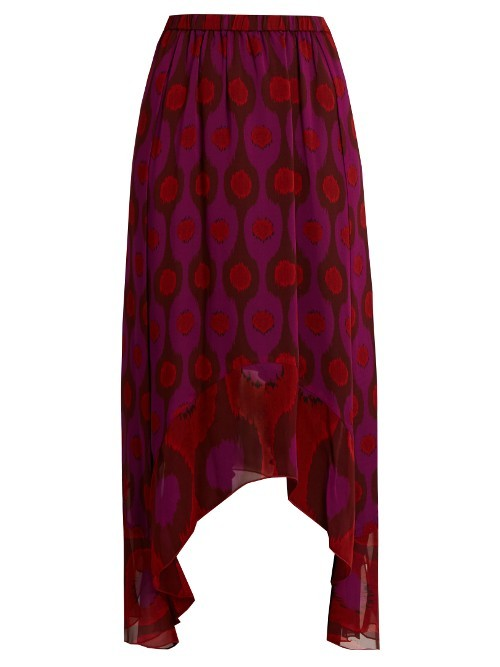 Louella Skirt - length: below the knee; fit: loose/voluminous; style: pleated; waist: high rise; secondary colour: burgundy; predominant colour: magenta; fibres: silk - mix; hip detail: soft pleats at hip/draping at hip/flared at hip; texture group: sheer fabrics/chiffon/organza etc.; pattern type: fabric; pattern: patterned/print; occasions: creative work; multicoloured: multicoloured; season: a/w 2016