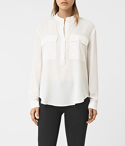 Mara Silk Shirt - neckline: round neck; pattern: plain; style: shirt; predominant colour: white; occasions: casual, work, creative work; length: standard; fibres: silk - 100%; fit: body skimming; sleeve length: long sleeve; sleeve style: standard; texture group: silky - light; pattern type: fabric; wardrobe: basic; season: a/w 2016