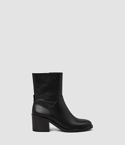 Macarthur Chain Boot - predominant colour: black; occasions: casual, work, creative work; material: leather; heel height: mid; heel: block; toe: round toe; boot length: ankle boot; style: standard; finish: plain; pattern: plain; season: a/w 2016