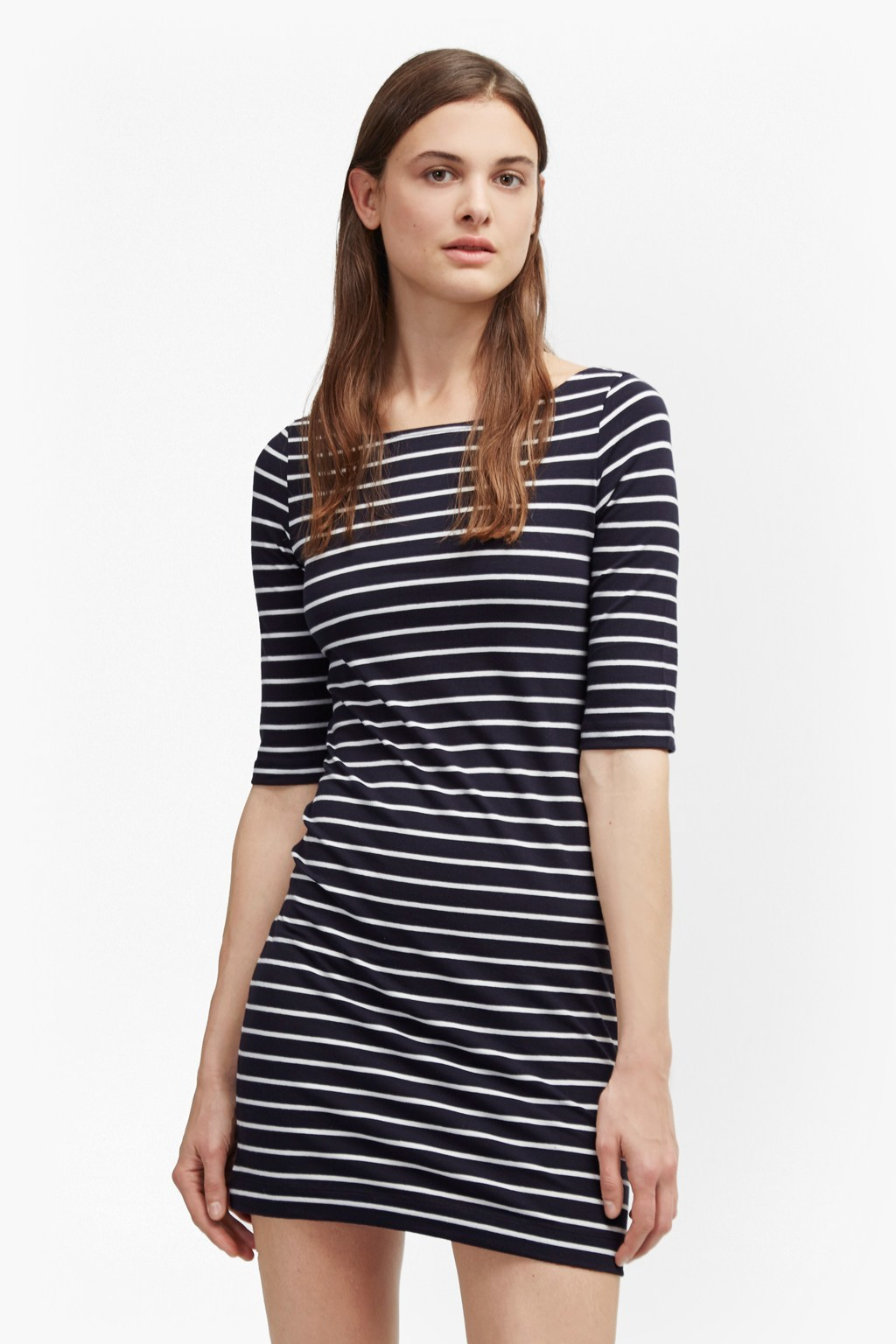 Tim Tim Boat Neck Stripe Dress Utility Blue/White - style: t-shirt; length: mid thigh; pattern: horizontal stripes; secondary colour: white; predominant colour: navy; occasions: casual; fit: body skimming; fibres: cotton - 100%; neckline: crew; sleeve length: half sleeve; sleeve style: standard; pattern type: fabric; texture group: jersey - stretchy/drapey; multicoloured: multicoloured; wardrobe: basic; season: a/w 2016