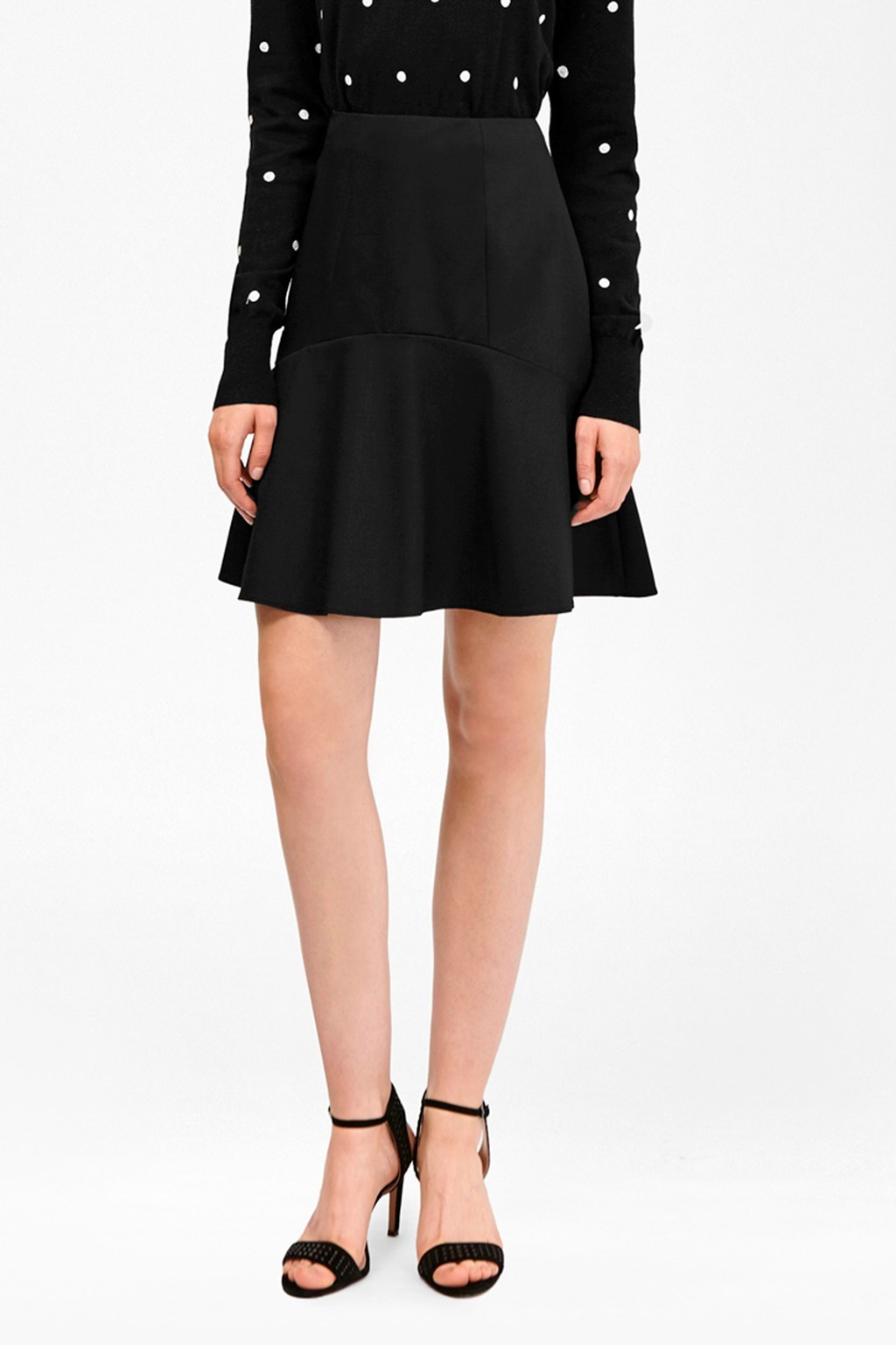 Chelsea Suiting Flared Skirt Black - pattern: plain; style: full/prom skirt; fit: loose/voluminous; waist: high rise; predominant colour: black; occasions: work, occasion; length: just above the knee; fibres: wool - mix; hip detail: subtle/flattering hip detail; pattern type: fabric; texture group: woven light midweight; wardrobe: basic; season: a/w 2016
