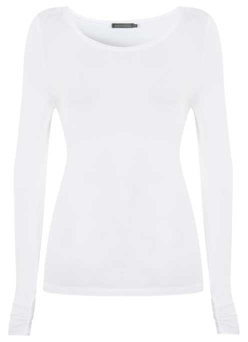 Ivory Long Sleeve Modal Tee - pattern: plain; predominant colour: white; occasions: casual; length: standard; style: top; neckline: scoop; fibres: viscose/rayon - stretch; fit: tight; sleeve length: long sleeve; sleeve style: standard; texture group: jersey - clingy; pattern type: fabric; wardrobe: basic; season: a/w 2016