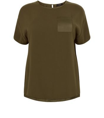 Curves Khaki Satin Pocket Boxy T Shirt - pattern: plain; style: t-shirt; predominant colour: khaki; occasions: casual; length: standard; fibres: polyester/polyamide - 100%; fit: body skimming; neckline: crew; sleeve length: short sleeve; sleeve style: standard; pattern type: fabric; texture group: jersey - stretchy/drapey; season: a/w 2016