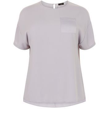Curves Grey Satin Pocket Boxy T Shirt - pattern: plain; style: t-shirt; predominant colour: light grey; occasions: casual; length: standard; fibres: polyester/polyamide - 100%; fit: body skimming; neckline: crew; sleeve length: short sleeve; sleeve style: standard; texture group: structured shiny - satin/tafetta/silk etc.; pattern type: fabric; wardrobe: basic; season: a/w 2016