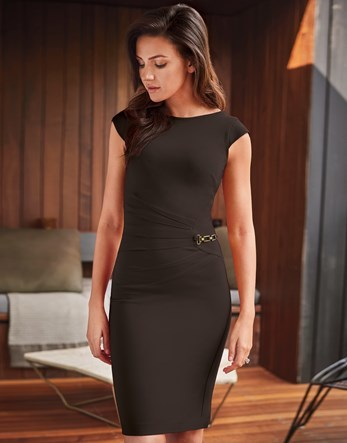 Love Michelle Keegan Ruched Side Chain Dress - sleeve style: capped; fit: tight; pattern: plain; style: bodycon; predominant colour: black; occasions: evening; length: on the knee; fibres: viscose/rayon - stretch; neckline: crew; sleeve length: short sleeve; texture group: jersey - clingy; pattern type: fabric; embellishment: chain/metal; season: a/w 2016; wardrobe: event; embellishment location: waist
