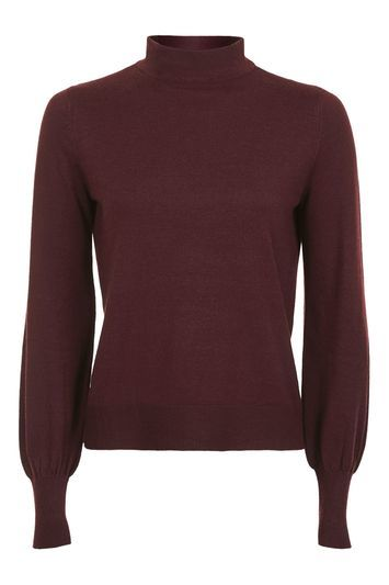 Blouson Sleeve Funnel Jumper - pattern: plain; neckline: high neck; style: standard; predominant colour: aubergine; occasions: casual; length: standard; fibres: nylon - mix; fit: slim fit; sleeve length: long sleeve; sleeve style: standard; texture group: knits/crochet; pattern type: knitted - fine stitch; season: a/w 2016; wardrobe: highlight