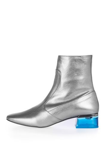 Aubergine Perspex Heeled Ankle Boots - secondary colour: turquoise; predominant colour: silver; occasions: casual; material: leather; heel height: mid; heel: block; toe: pointed toe; boot length: ankle boot; style: standard; finish: plain; pattern: plain; season: a/w 2016; wardrobe: highlight