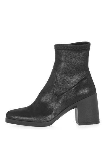 Barney Metallic Boots - predominant colour: black; occasions: casual, creative work; material: fabric; heel height: mid; heel: block; toe: round toe; boot length: ankle boot; style: standard; finish: plain; pattern: plain; season: a/w 2016; wardrobe: highlight