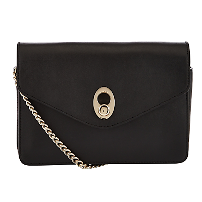 Patricia Leather Chain Across Body Bag - secondary colour: gold; predominant colour: black; occasions: evening; type of pattern: standard; style: clutch; length: across body/long; size: standard; material: leather; pattern: plain; finish: plain; embellishment: chain/metal; season: a/w 2016; wardrobe: event