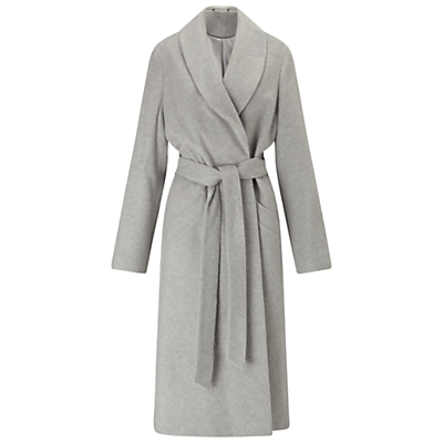 Longline Robe Coat - pattern: plain; style: wrap around; collar: standard lapel/rever collar; predominant colour: light grey; occasions: casual, creative work; fit: tailored/fitted; fibres: acrylic - mix; length: below the knee; waist detail: belted waist/tie at waist/drawstring; sleeve length: long sleeve; sleeve style: standard; collar break: medium; pattern type: fabric; pattern size: standard; texture group: woven bulky/heavy; wardrobe: basic; season: a/w 2016