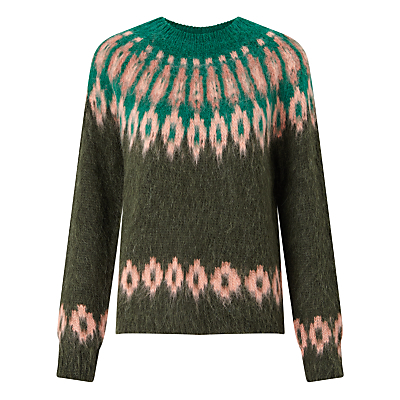 Vaga Fair Isle Jumper - neckline: round neck; style: standard; secondary colour: pink; predominant colour: dark green; occasions: casual, creative work; length: standard; fibres: wool - mix; fit: standard fit; pattern: fairisle; sleeve length: long sleeve; sleeve style: standard; texture group: knits/crochet; pattern type: knitted - other; pattern size: standard; multicoloured: multicoloured; season: a/w 2016; wardrobe: highlight; trends: chunky knits