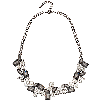 Faceted Cubic Zirconia Statement Necklace, Silver/Black - predominant colour: silver; occasions: evening, occasion; length: mid; size: large/oversized; material: chain/metal; finish: plain; embellishment: crystals/glass; style: bib/statement; season: a/w 2016