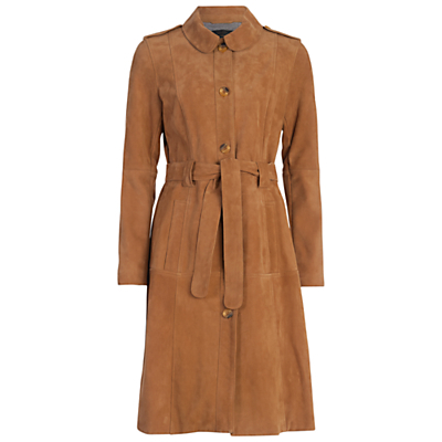 Tara Suede Belted Coat, Manuka - pattern: plain; style: trench coat; collar: standard lapel/rever collar; predominant colour: tan; occasions: casual, creative work; fit: tailored/fitted; fibres: leather - 100%; length: below the knee; waist detail: belted waist/tie at waist/drawstring; sleeve length: long sleeve; sleeve style: standard; collar break: medium; pattern type: fabric; texture group: suede; season: a/w 2016; wardrobe: highlight